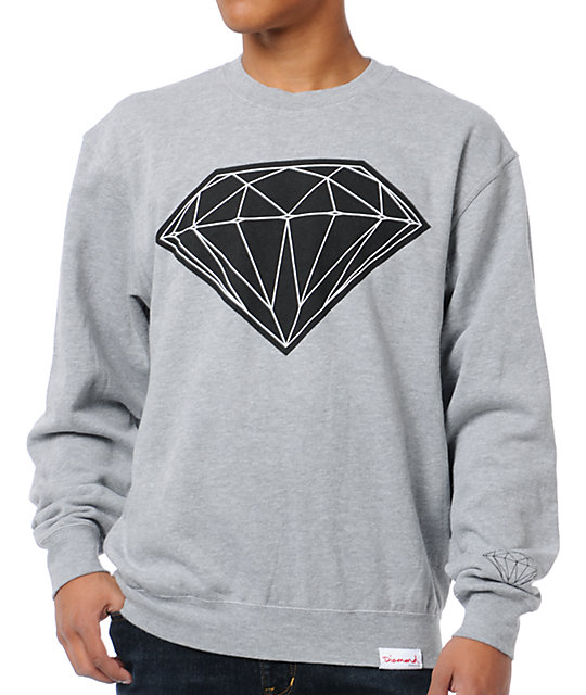Diamond Supply Co Big Brilliant Grey Crew Neck Sweatshirt