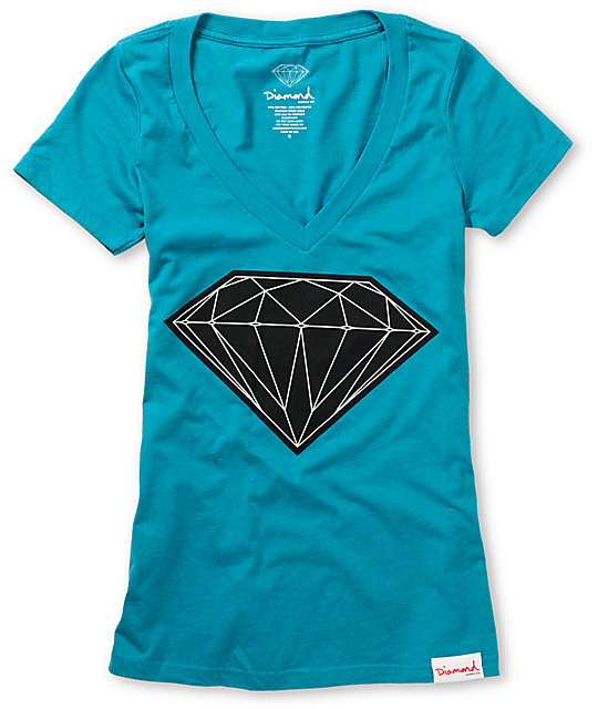 Diamond Supply Co Big Brilliant Turquoise V-Neck T-Shirt