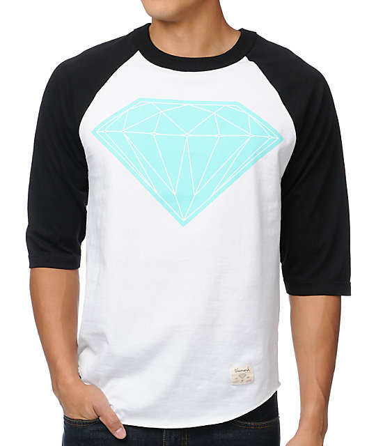 Diamond Supply Co Big Brilliant White & Black Baseball T-Shirt