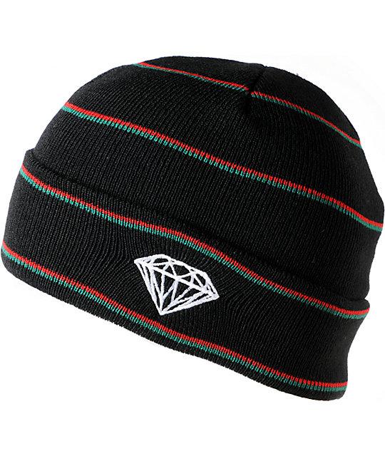 Diamond Supply Co Black, Red & Green Striped Fold Beanie