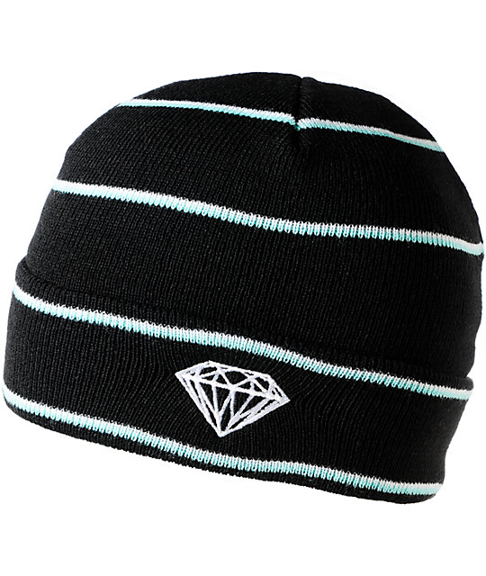Diamond Supply Co Black, White & Teal Striped Fold Beanie