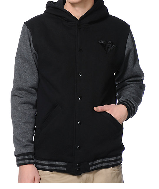 Diamond Supply Co Black & Grey Hooded Fleece Varsity Jacket