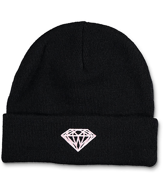 Diamond Supply Co Black Fold Over Beanie