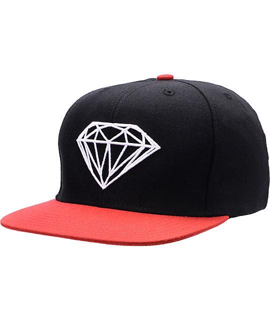 Diamond Supply Co Brilliant Black & Red Snapback Hat