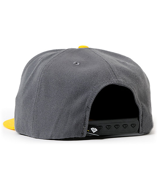 Diamond Supply Co Brilliant Grey & Yellow Snapback Hat