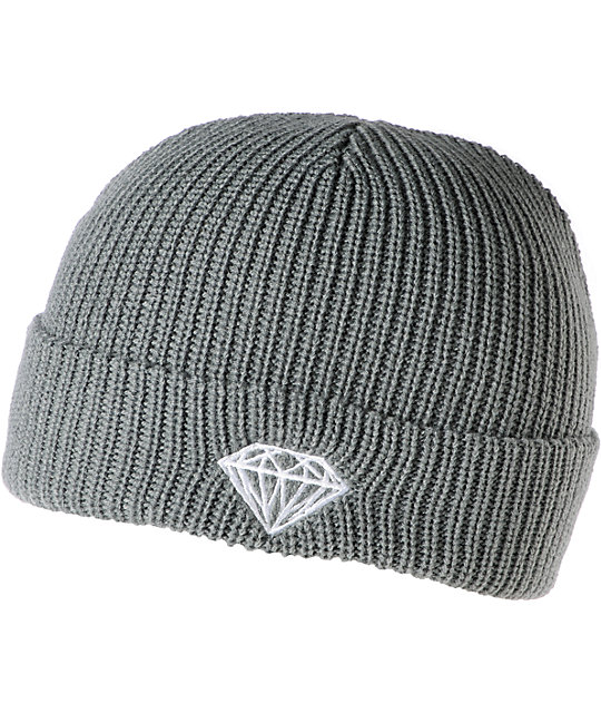 Diamond Supply Co Brilliant Grey Fold Beanie