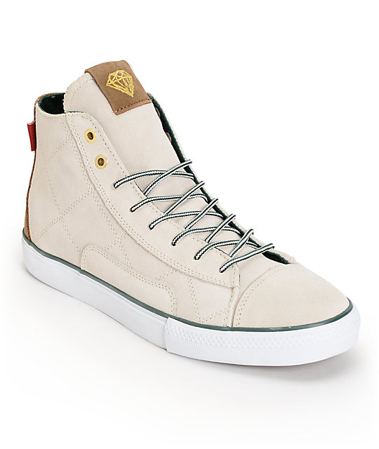 Diamond Supply Co Brilliant Hi Hunter White Skate Shoes