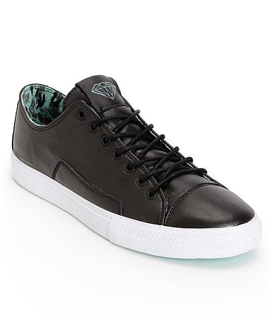 Diamond Supply Co Brilliant Low Black Lamb Skin & Mint Skate Shoes