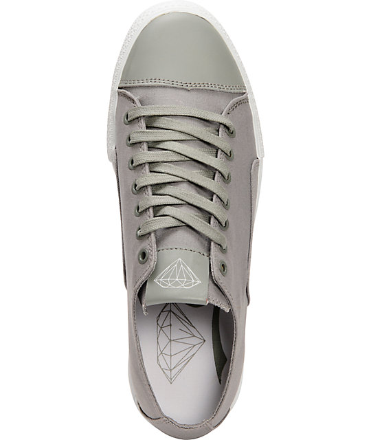Diamond Supply Co Brilliant Low Grey Canvas Skate Shoes
