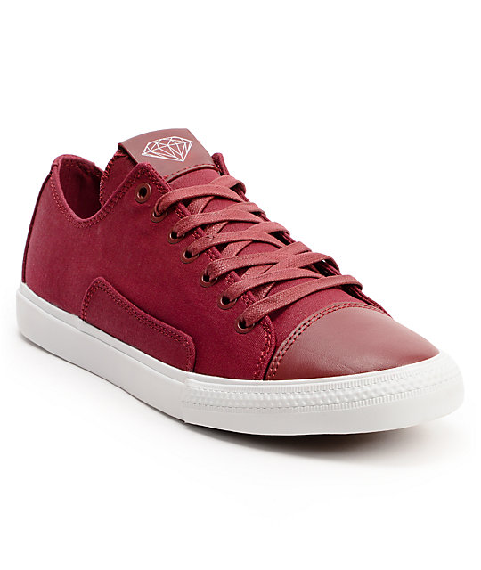 Diamond Supply Co Brilliant Low Red Canvas Skate Shoes