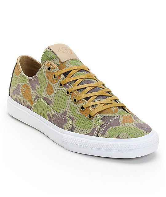 Diamond Supply Co Brilliant Low Tan Rain Camo Canvas Skate Shoes