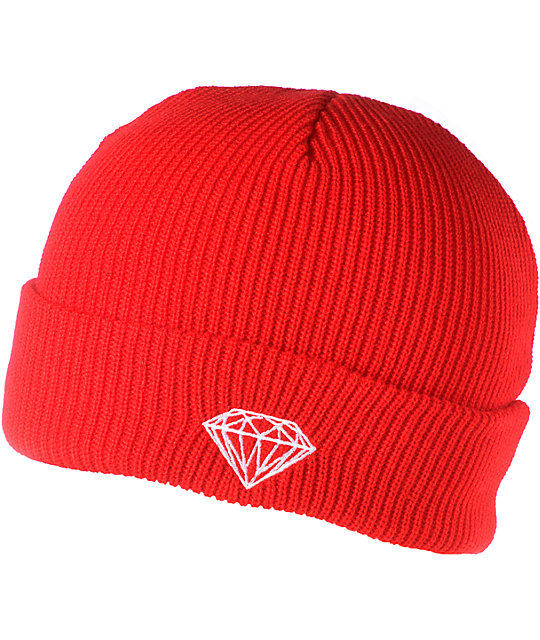 Diamond Supply Co Brilliant Red Cuff Beanie