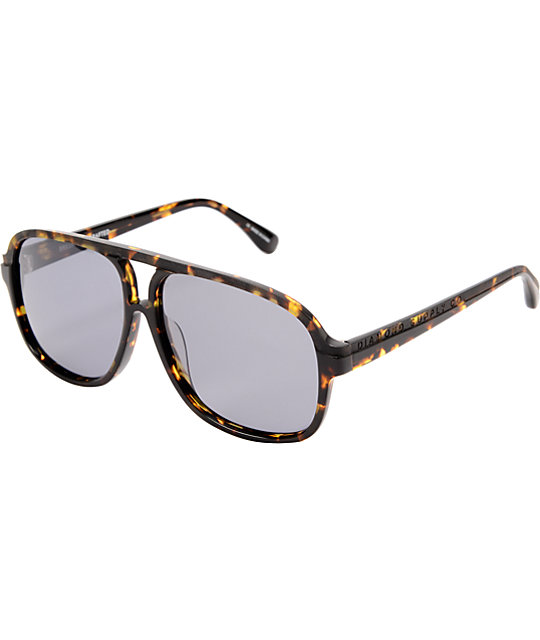 Diamond Supply Co Brown Tortoise Aviator Sunglasses