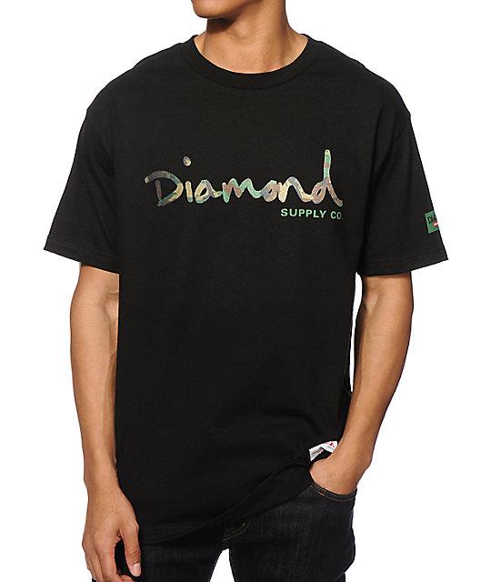Diamond supply co camo og script t shirt at zumiez pdp for Wholesale diamond supply co shirts