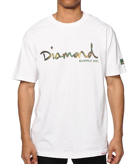 Diamond supply co camo og script t shirt zumiez for Wholesale diamond supply co shirts