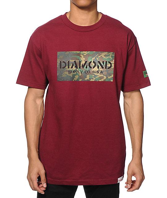 diamond supply co camo stencil block logo tshirt zumiez