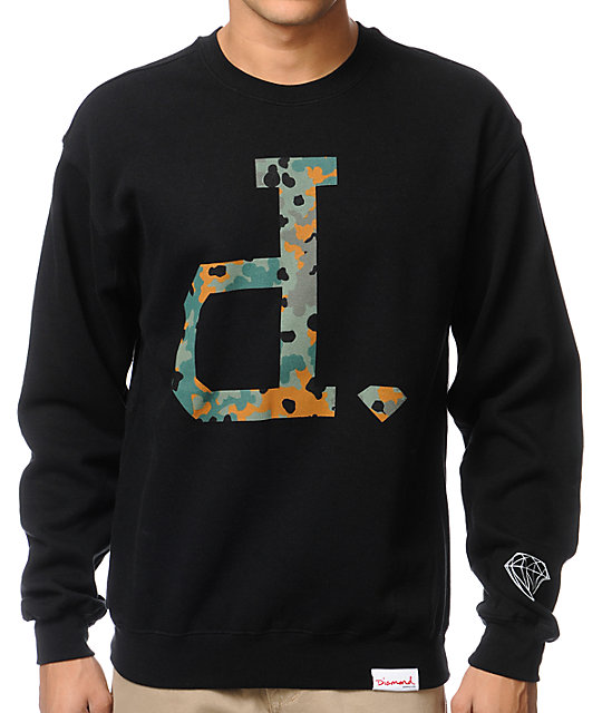 Diamond Supply Co Camo Unpolo Black Crew Neck Sweatshirt