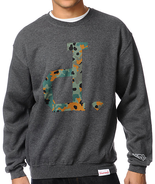 Diamond Supply Co Camo Unpolo Charcoal Crew Neck Sweatshirt