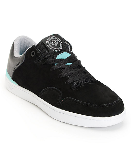 Diamond Supply Co Capital Black & Mint Suede Skate Shoes
