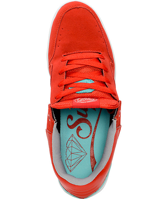 Diamond Supply Co Capital Red, Mint, & White Skate Shoes