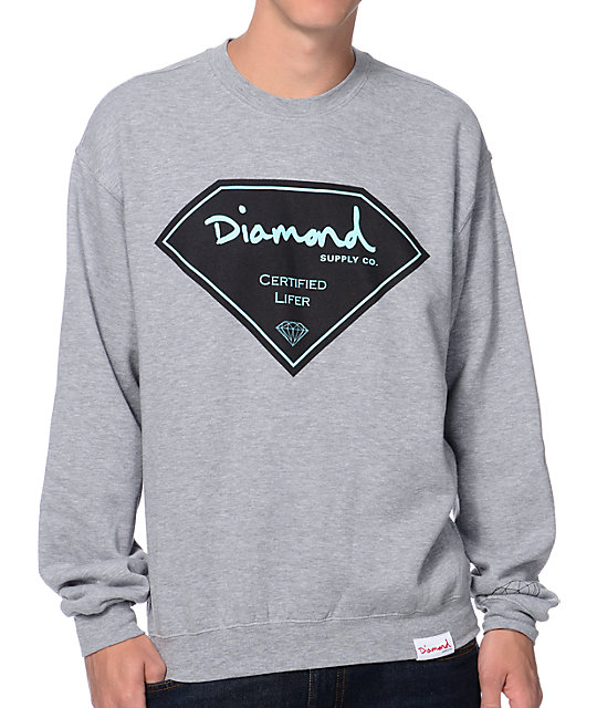 Diamond Supply Co Certified Lifer Grey Crew Neck Sweatshirt