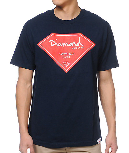 Diamond Supply Co Certified Lifer Navy T-Shirt