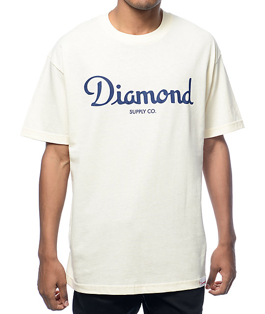 Diamond Supply Co Champagne Script Cream T-Shirt