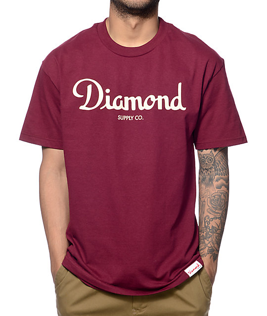 Diamond Supply Co Champagne Script Maroon T-Shirt at ... - photo#29