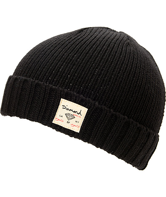 Diamond Supply Co City Cuff Black Beanie
