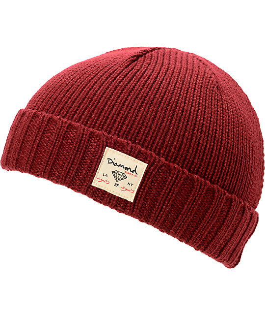 Diamond Supply Co City Cuff Burgundy Beanie