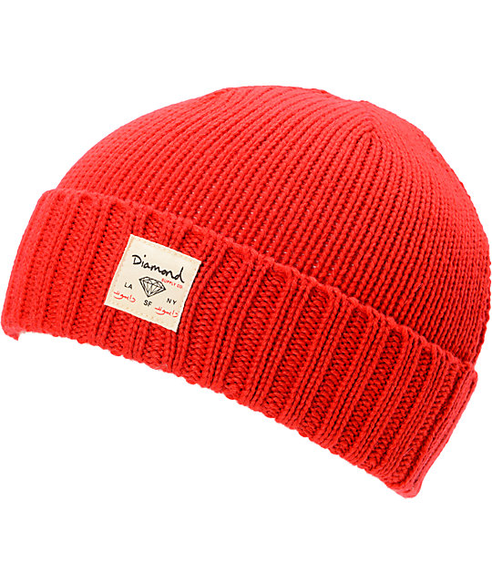Diamond Supply Co City Cuff Red Beanie