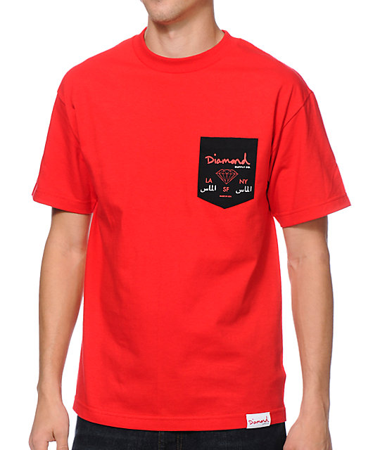 Diamond supply co city label red pocket t shirt for Wholesale diamond supply co shirts