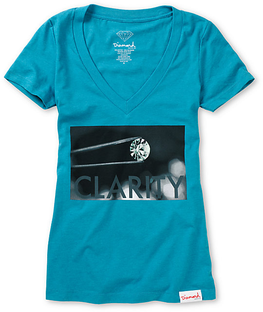 Diamond Supply Co Clarity Teal V-Neck T-Shirt