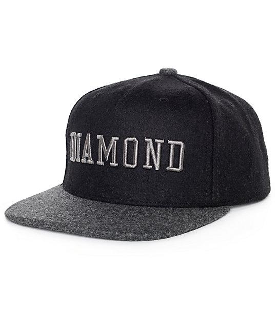 Diamond Supply Co College Black Snapback Hat