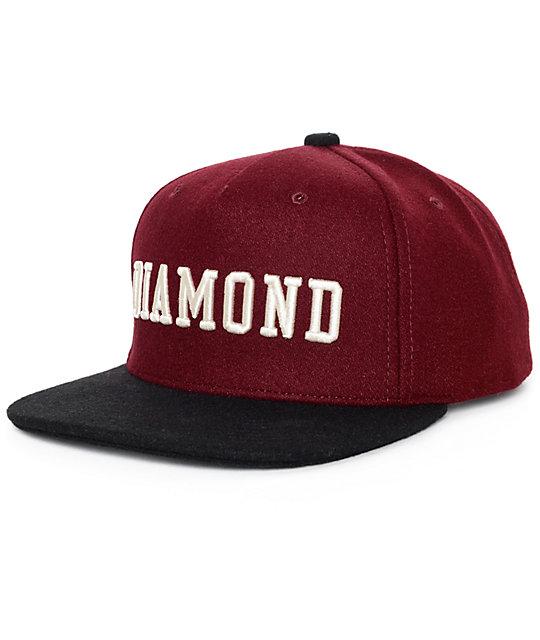 Diamond Supply Co College Dark Red Snapback Hat