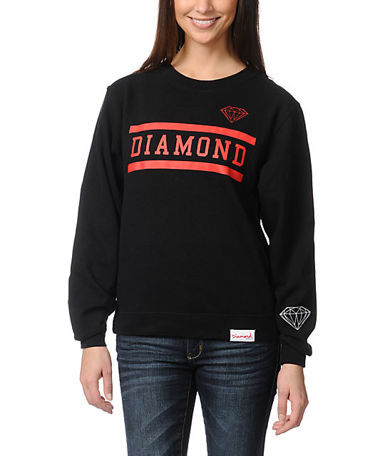 Diamond Supply Co Collegiate Black Crew Neck Sweatshirt
