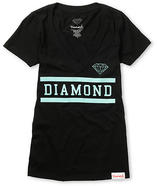 Diamond Supply Co Collegiate Black V-Neck T-Shirt