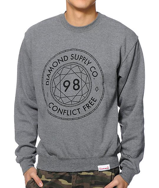 Diamond Supply Co Conflict Free Grey Crew Neck Sweatshirt