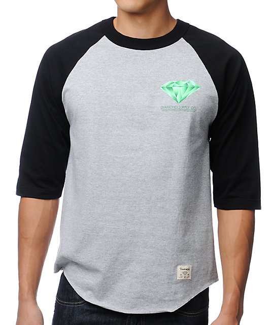 Diamond Supply Co Creators Raglan Black & Grey Baseball T-Shirt