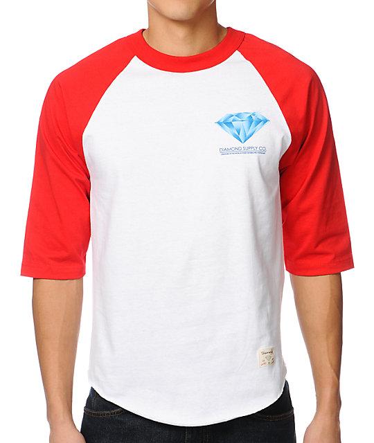 Diamond Supply Co Creators Raglan Red & White Baseball T-Shirt
