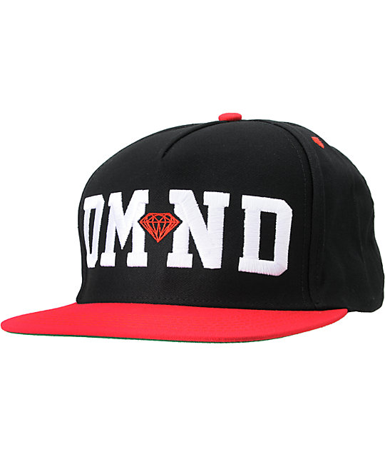 Diamond Supply Co DMND Black & Red Snapback Hat