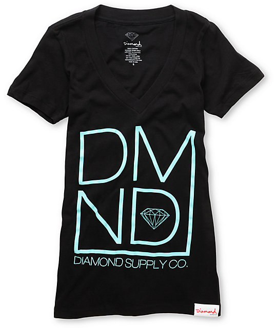 Diamond Supply Co DMND Black V-Neck T-Shirt
