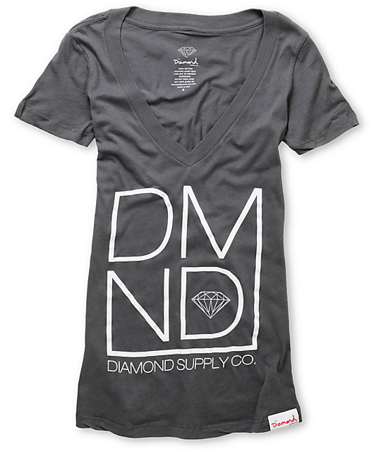 Diamond Supply Co DMND Charcoal V-Neck T-Shirt