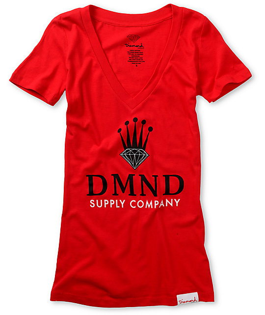 Diamond Supply Co DMND Crown Red V-Neck T-Shirt