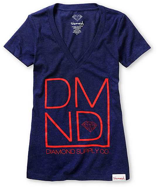 Diamond Supply Co DMND Dark Blue V-Neck T-Shirt