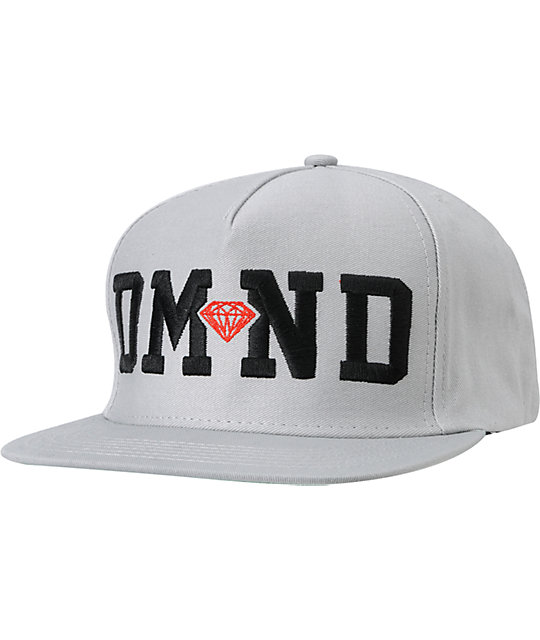 Diamond Supply Co DMND Grey & Red Snapback Hat