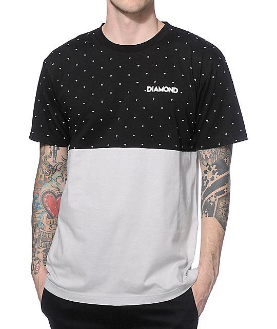 Diamond supply co deco black grey colorblock t shirt for Wholesale diamond supply co shirts