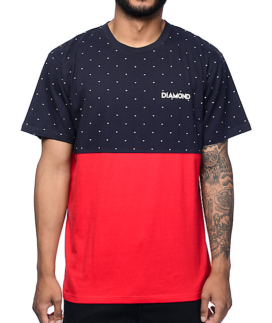 Diamond Supply Co Deco Navy & Red Colorblock T-Shirt