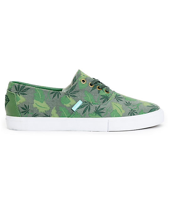 Diamond Supply Co Diamond Cuts Green Weed Camo Canvas Shoes