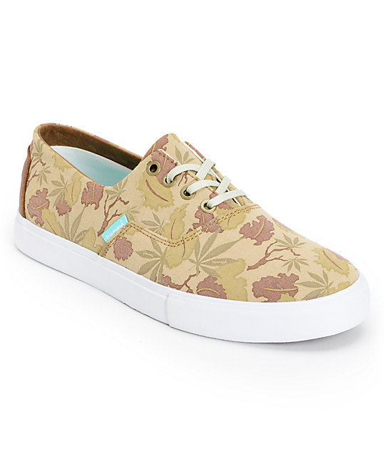 Diamond Supply Co Diamond Cuts Tan Weed Camo Canvas Shoes